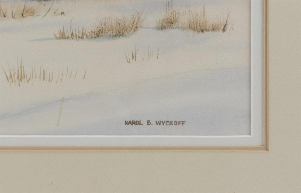 KAROL B. WYCKOFF, Cape Cod, Massachusetts, Contemporary, A New England town in winter., Watercolor on paper, 13.75
