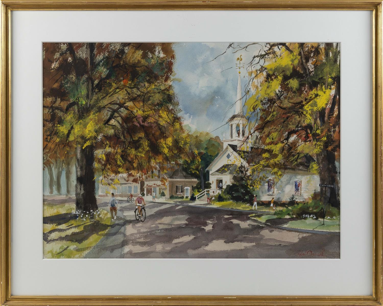 "ROBERT DRISCOLL, Massachusetts, 1940-2008, Street scene, Osterville, Massachusetts., Watercolor on paper, 21"" x 29.5"" sight. Framed..."