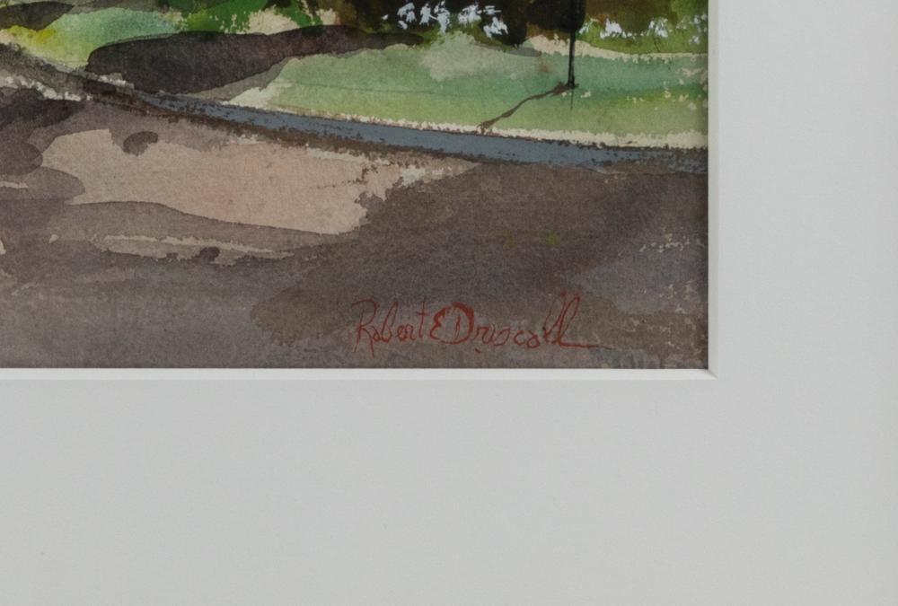 ROBERT DRISCOLL, Massachusetts, 1940-2008, Street scene, Osterville, Massachusetts., Watercolor on paper, 21