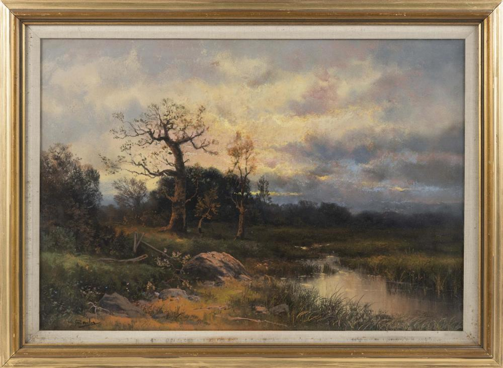 "CLARENCE E. BRALEY, Massachusetts, 1854-1927, Sunset landscape., Pastel on paper, 17"" x 24.5"" sight. Framed 22"" x 30""."