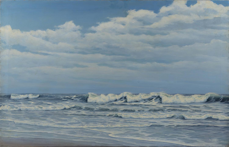 "WALTER ANDREWS, Pennsylvania, 1905-1969, Seascape., Oil on canvas, 28"" x 44"". Unframed."