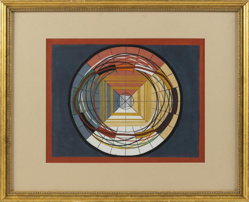 """GEOMETRIC GOUACHE Likely American Indian. 14"""" x 10.75"""" sight. Framed 21.5"""" x 17.5""""."""