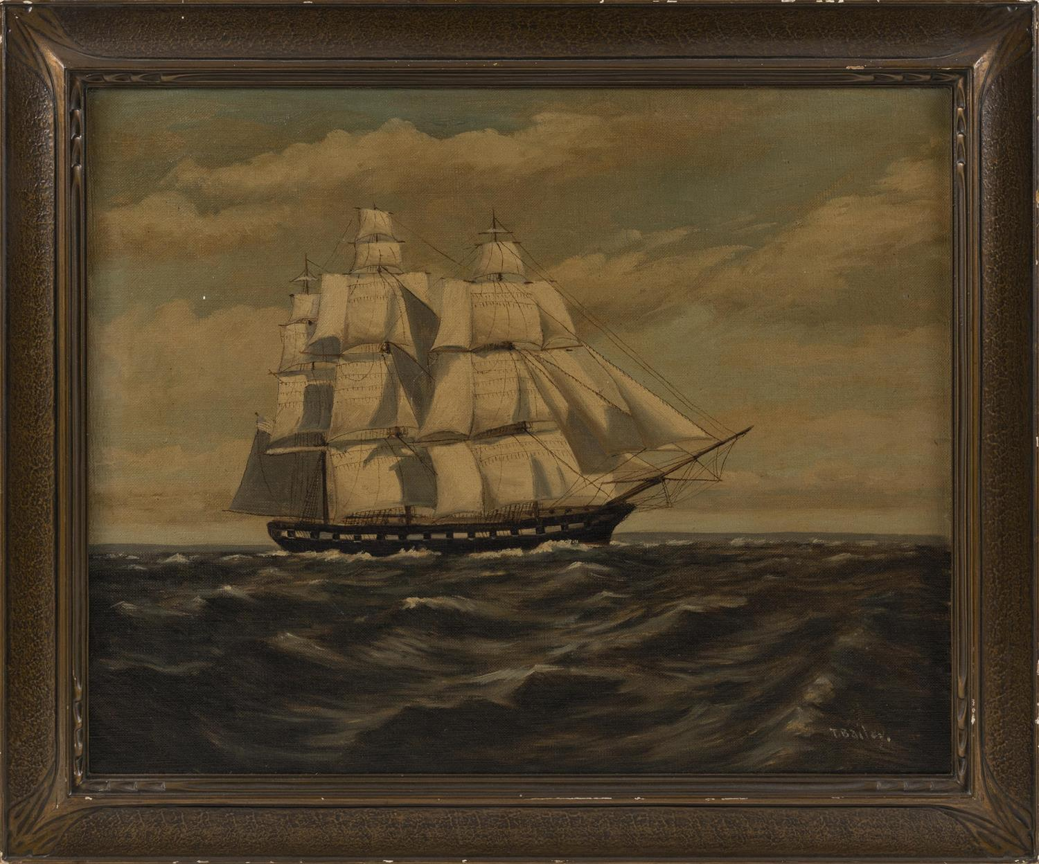 "T. BAILEY, Massachusetts, 19th/20th Century, Three-masted ship at sea., Oil on canvas, 16"" x 20"". Framed 19.5"" x 23.5""."
