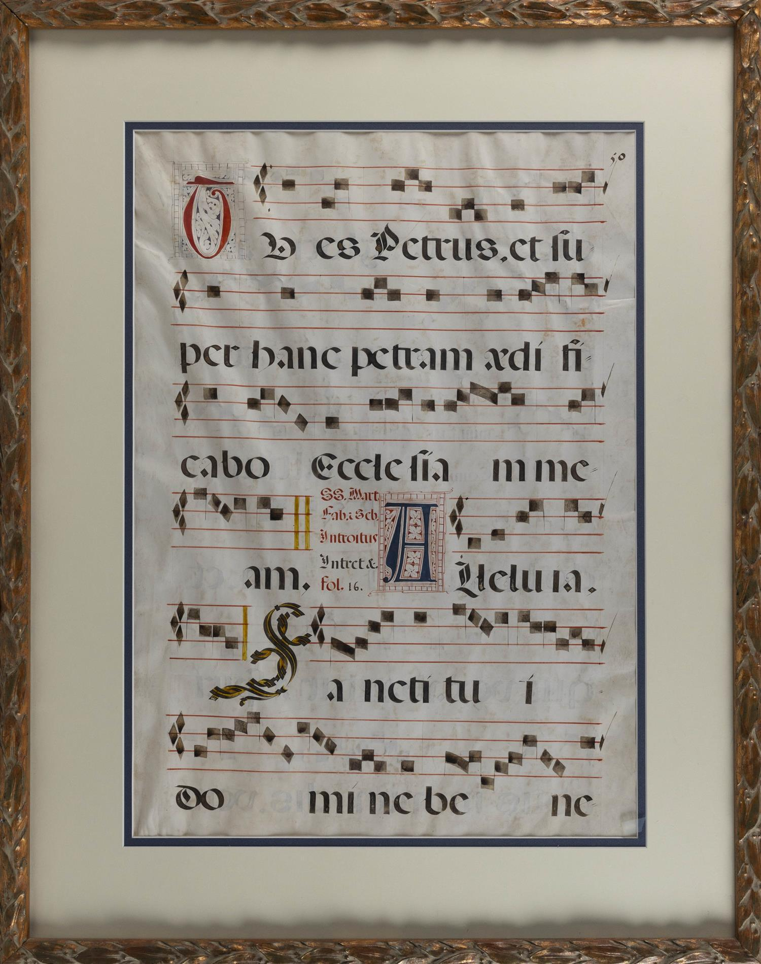 """LARGE CONTINENTAL MUSIC SHEET ON VELLUM Double-sided. Housed in a carved leaf-form frame. 28"""" x 20"""" sight. Framed 39.75"""" x 31""""."""