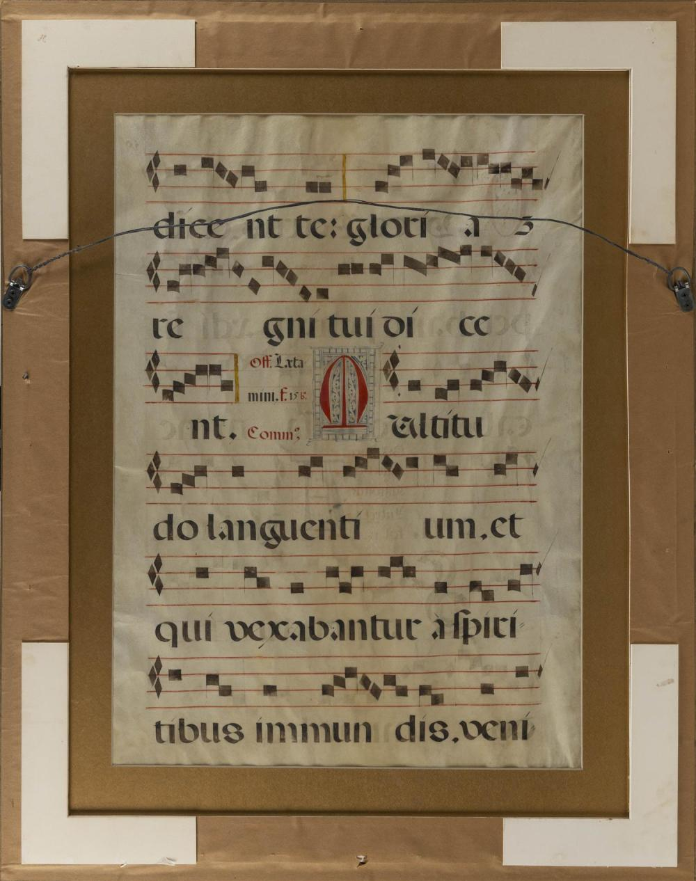 LARGE CONTINENTAL MUSIC SHEET ON VELLUM Double-sided. Housed in a carved leaf-form frame. 28