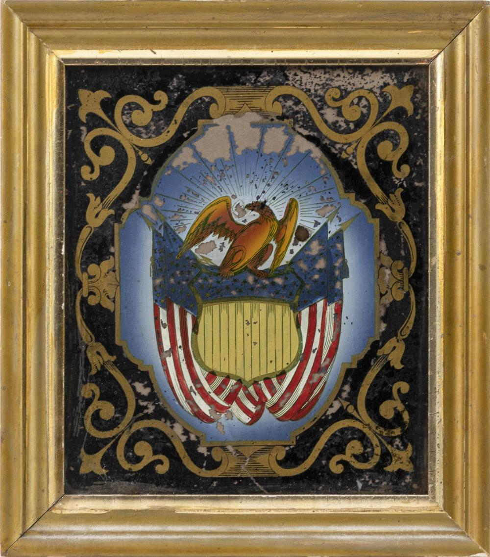 """REVERSE PAINTING ON GLASS Depicts an eagle and a Liberty shield. Most likely came from a clock. 9"""" x 7.5"""" sight. Framed 11.5"""" x 10""""."""