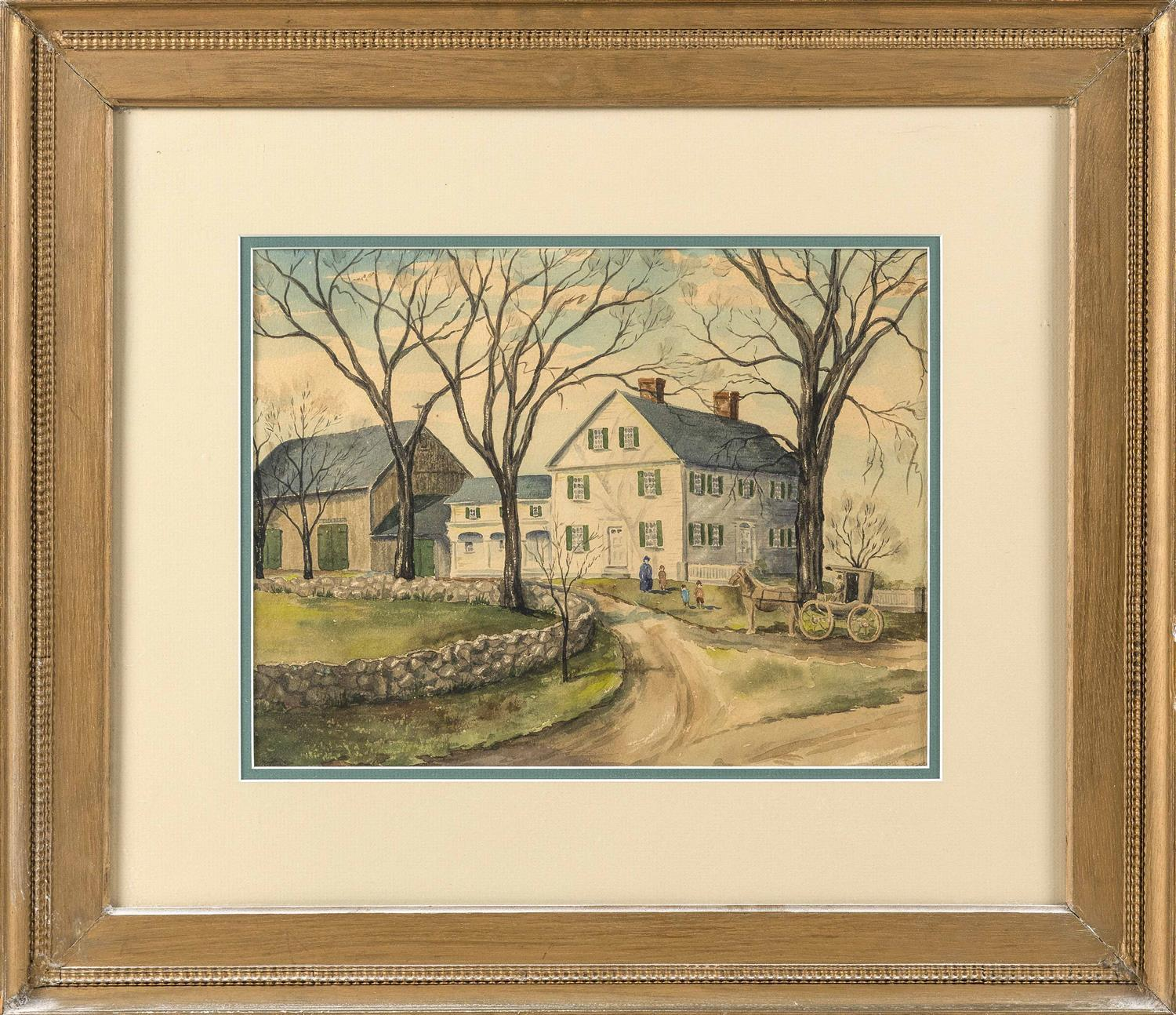 "WATERCOLOR OF THE ALLEN HOMESTEAD, MEDFIELD, MASSACHUSETTS Unsigned. 10"" x 13"" sight. Framed 19.5"" x 22.5""."