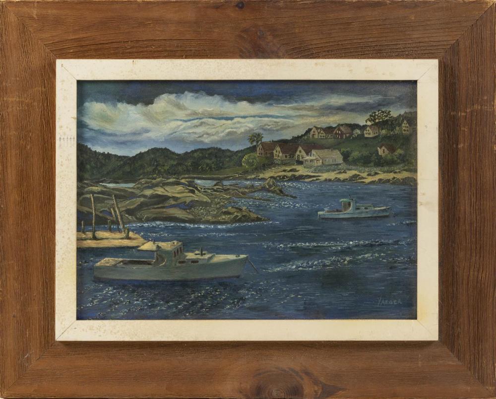 """DR. MURRAY YAEGER, Massachusetts, d. 2004, Maine coastal scene., Oil on board, 10"""" x 14"""". Framed 16"""" x 20""""."""