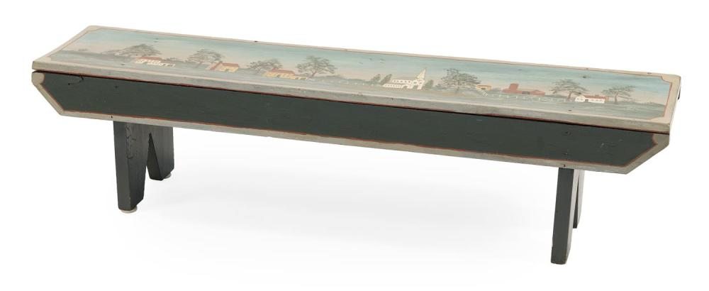 """DECORATIVE PINE BENCH 19th Century bench with 20th Century painted decoration of a New England village scene. Height 10"""". Length 37...."""