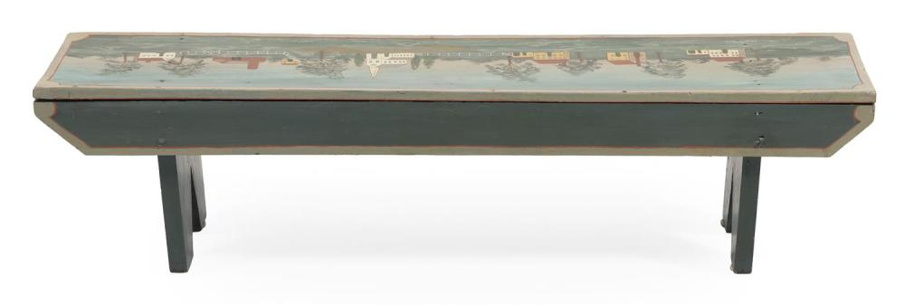 DECORATIVE PINE BENCH 19th Century bench with 20th Century painted decoration of a New England village scene. Height 10
