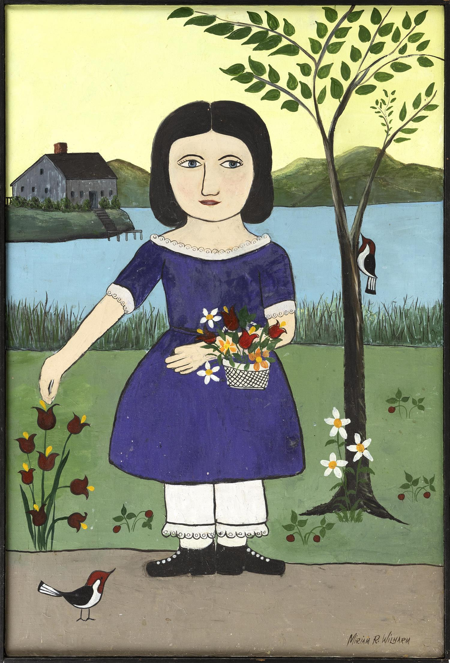 "MIRIAM R. WILHARM, Cape Cod, Massachusetts, 20th Century, Primitive-style portrait of a girl with flowers., Oil on canvas, 36"" x 24""..."
