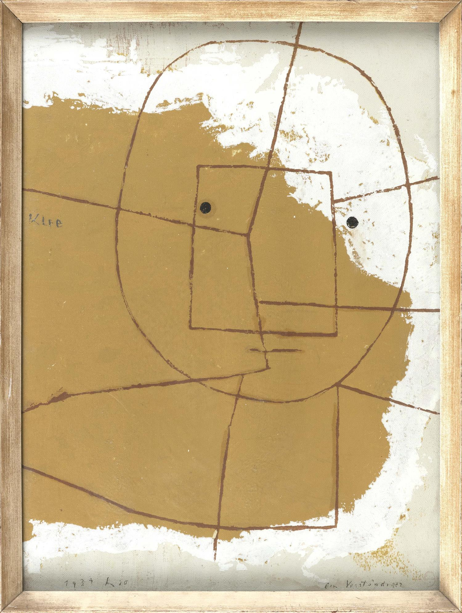 """PAUL KLEE SCREENPRINT """"One Who Understands"""". Dated 1934 in image. 21"""" x 15"""". Framed 22"""" x 16.5""""."""