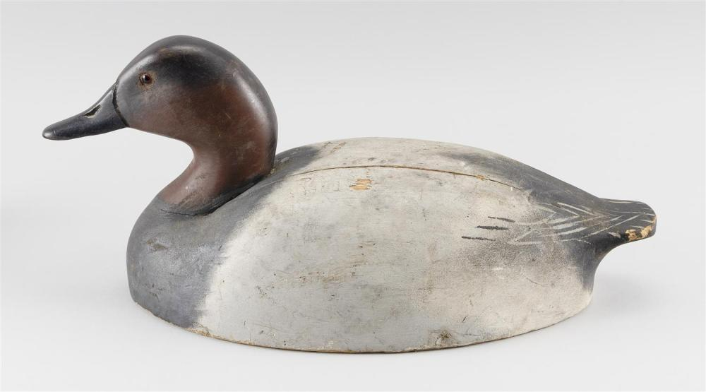 WILDFOWLER DECOY COMPANY CANVASBACK DECOY In original paint. Owner's brand on underside. Length 17