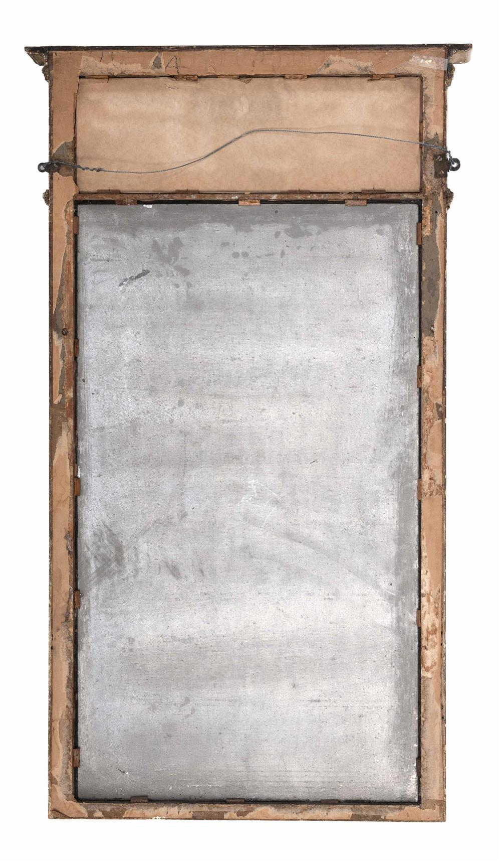 FEDERAL-STYLE PIER MIRROR Reverse-painted upper tablet depicts classical ruins. Gilt frame. Height 50