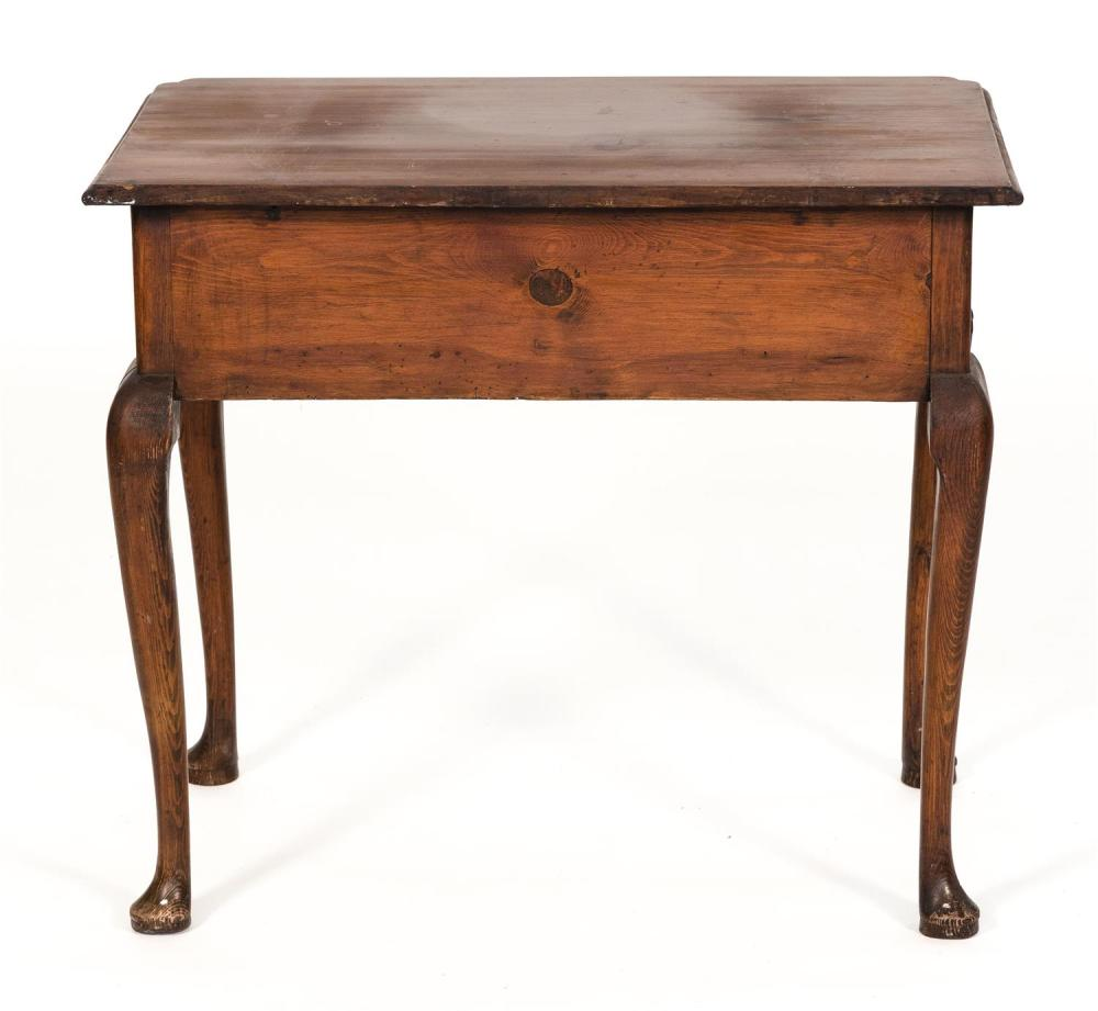 QUEEN ANNE DRESSING TABLE In pine. Molded top with cut corners. Single drawer in apron. Cabriole legs end in pad feet. Height 28.75