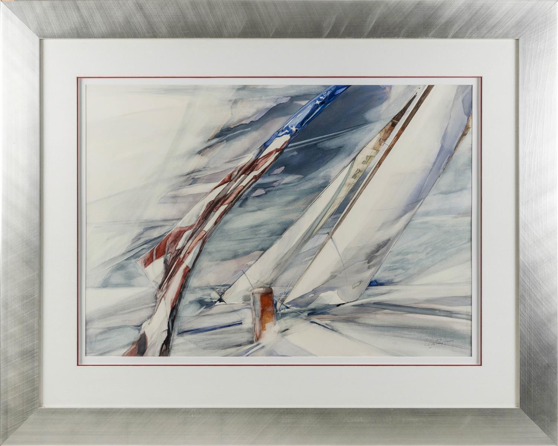 "WILLARD GORDON BOND, New York/Idaho, 1926-2012, Yachting scene., Watercolor on paper, 26.5"" x 38.5"". Framed 44"" x 56""."