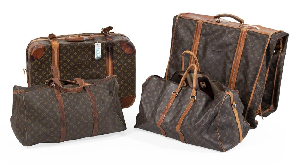 FOUR PIECES OF LOUIS VUITTON LUGGAGE Suitcase, garment bag and two soft-sided bags. Lengths from 21