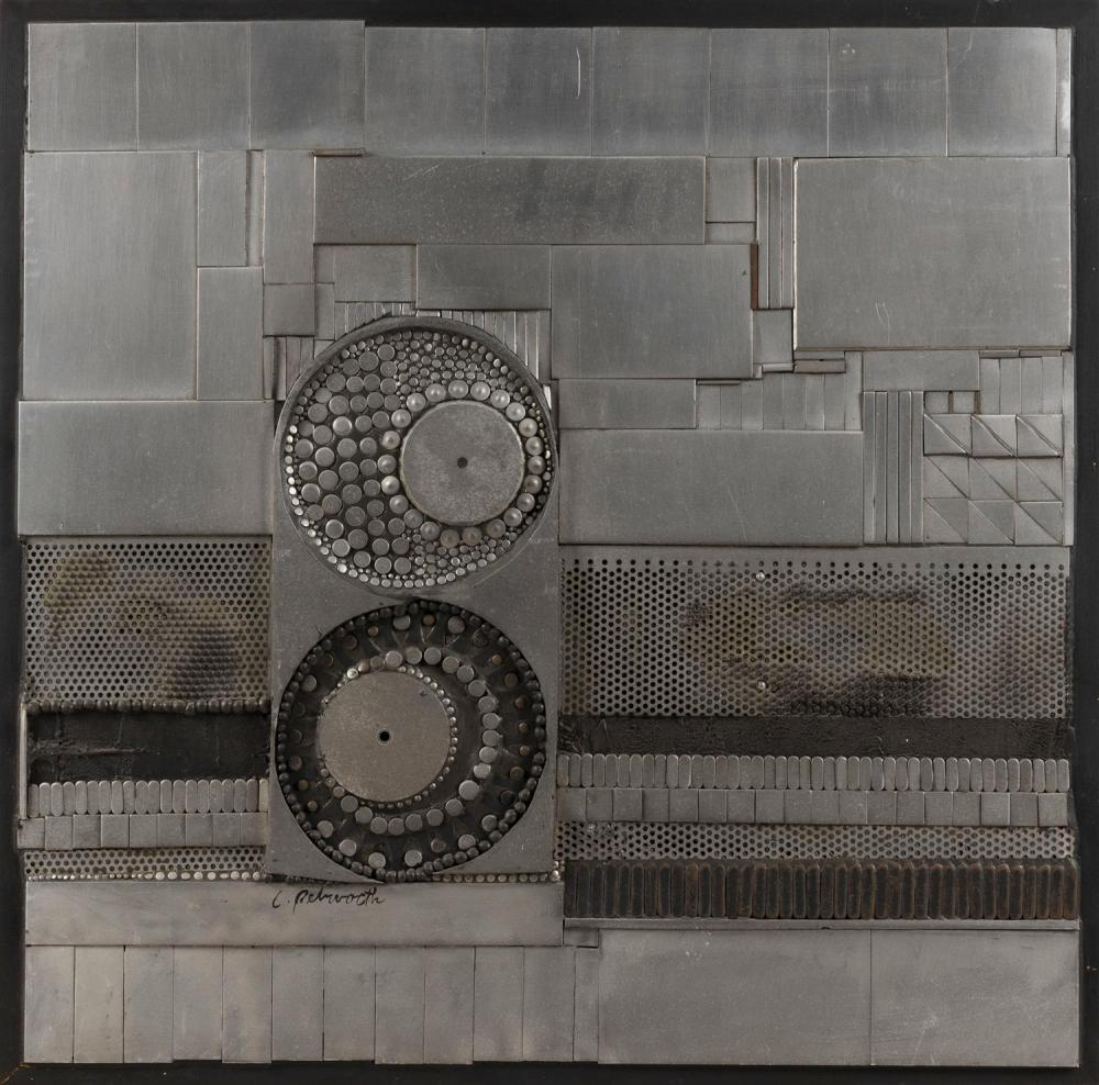 """POSSIBLY ENGLISH SCHOOL, 20th Century, Metallic collage., Mixed media, metal and wood on panel, height 25.5"""". Width 25.5"""". Depth 2""""."""