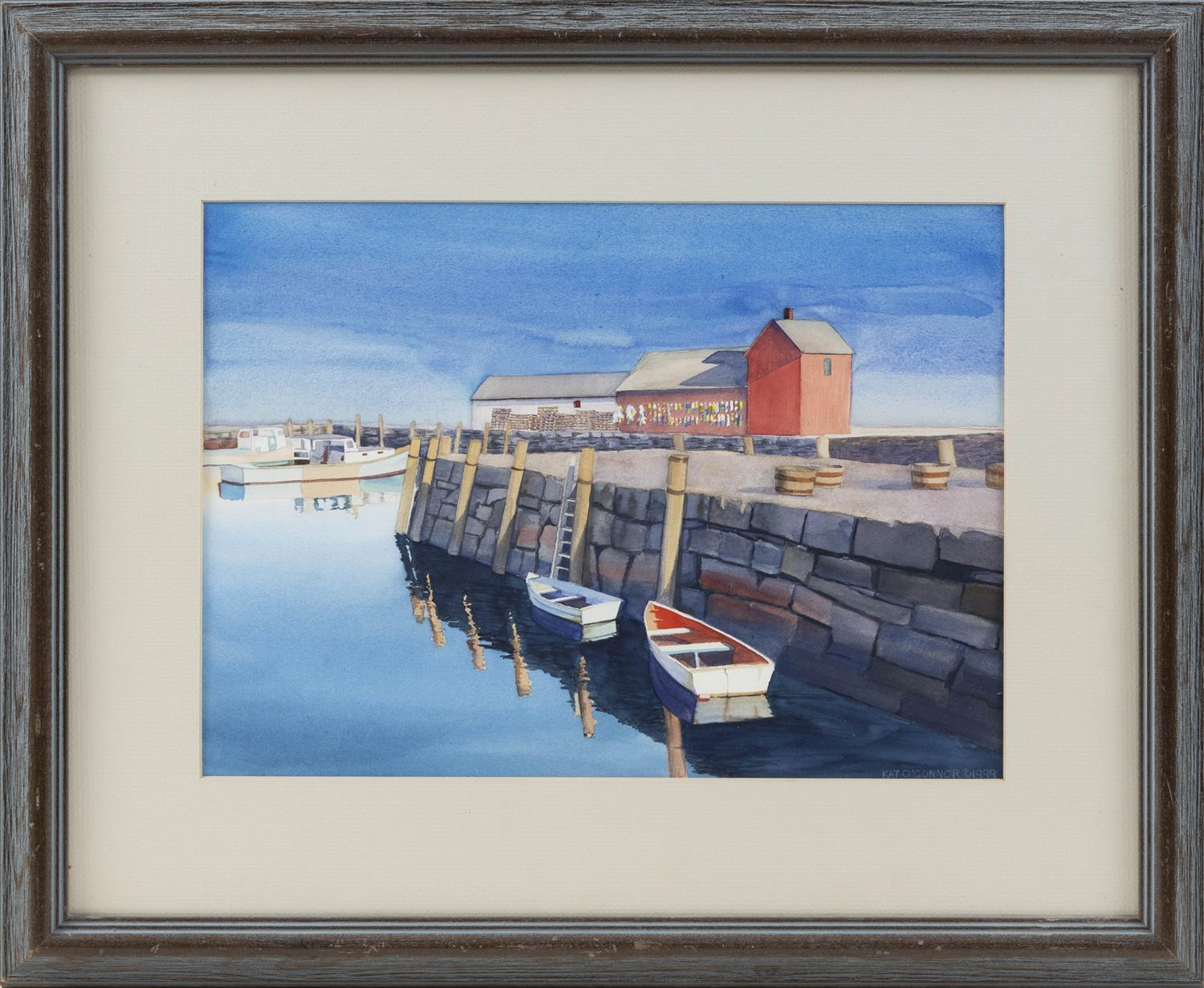 "KAT O'CONNOR, America, Contemporary, Motif #1, Rockport, Massachusetts., Watercolor on paper, 10.25"" x 14"". Framed 17"" x 22""."