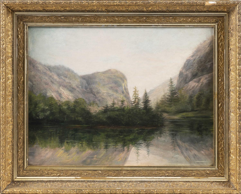 """AMERICAN SCHOOL, 19th Century, Mountain landscape., Oil on board, 18"""" x 24"""". Framed 25"""" x 31""""."""