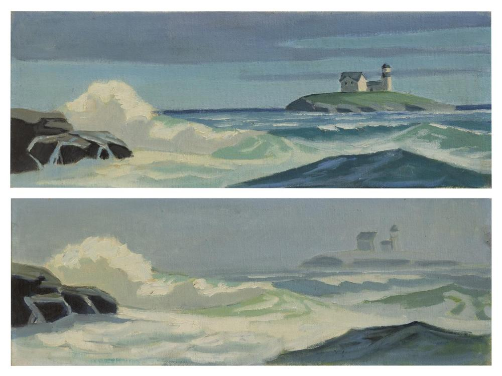 "CAPE ANN SCHOOL, America, 20th Century, Two works depicting ""Thatcher's Light, Rockport""., Oils on board, 5.75"" x 16"". Unframed."