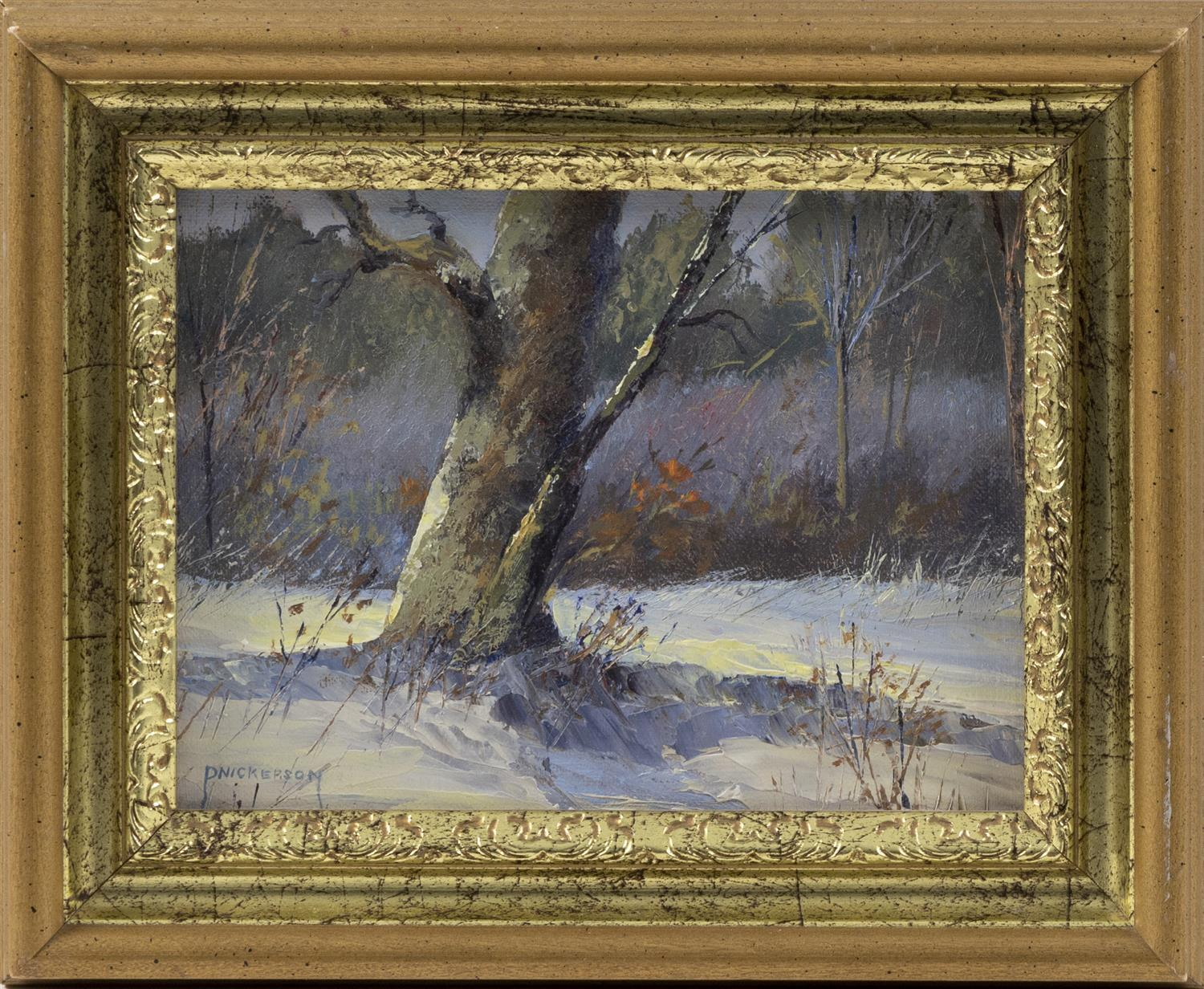 "AMERICAN SCHOOL, Contemporary, A tree in a winter landscape., Oil on board, 6"" x 8"". Framed 9"" x 11""."
