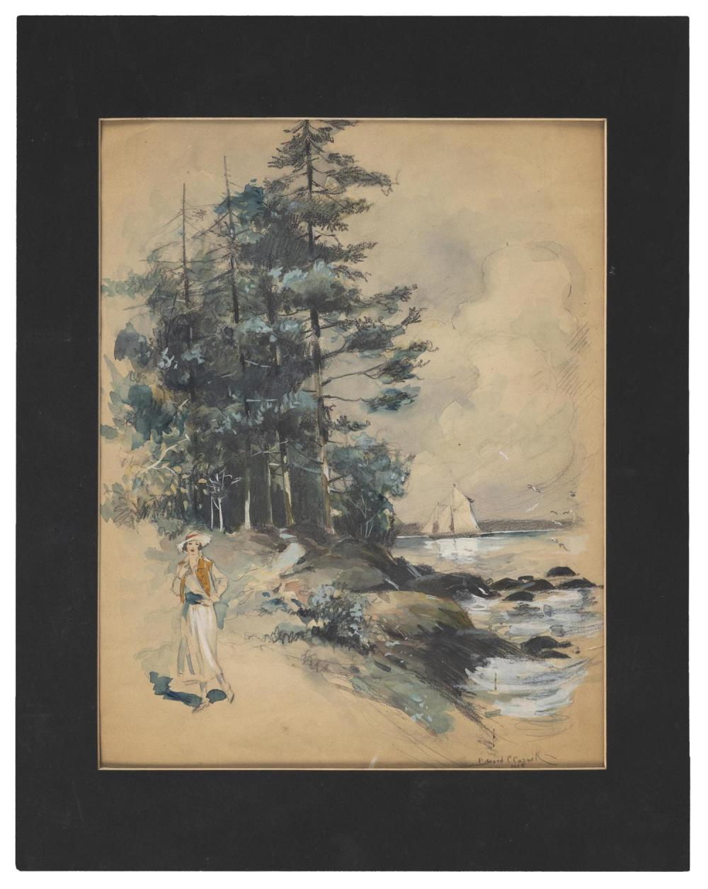 """EDWARD C. CASWELL, New York, 1879-1963, A fashionable young woman by the shore., Watercolor and gouache, 13.25"""" x 10.25"""" sight. Unfr..."""