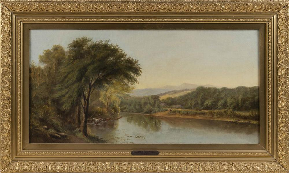 ATTRIBUTED TO JAMES LEWIN, Rhode Island/Massachusetts, 1836-1877, Pastoral New England landscape with mountains, river and cows., Oi...