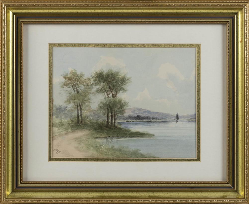 "LAIRD, America, b. 1983, New Hampshire landscape., Watercolor on paper, 12.25"" x 9.5"" sight. Framed 17.75"" x 21.5""."