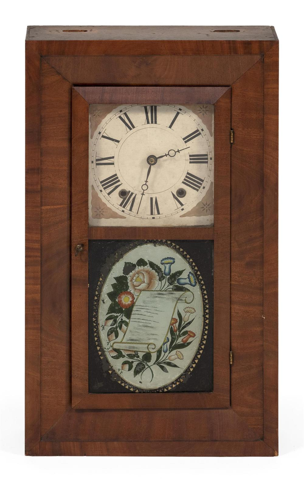 """LEVI SMITH CASED MANTEL CLOCK Mahogany veneer case. Reverse-painted glass depicts flowers. Height 26.5"""". Width 15.75"""". Depth 4.5"""". I..."""