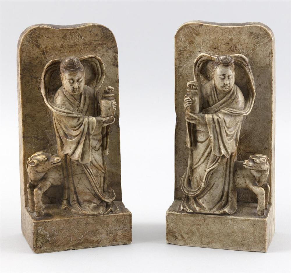 "PAIR OF CHINESE SOAPSTONE BOOKENDS Figural and ram decoration. Heights 8.25""."