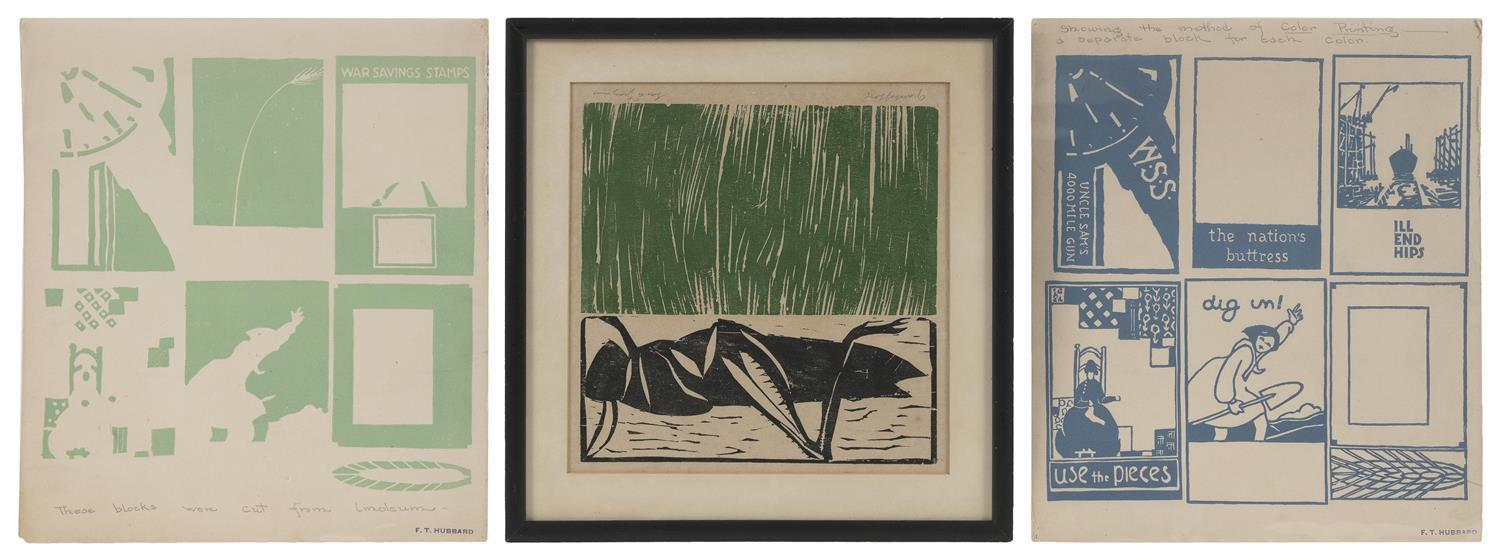 """THREE ITEMS PERTAINING TO BLOCK PRINTING 1) """"Grasshopper"""" by Sante Graziani (Connecticut/Ohio, b. 1920). Signed lower right. Woodblo..."""