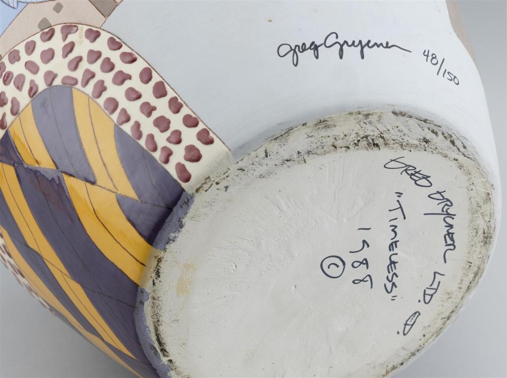 GREG GRYCNER CERAMIC VASE Signed and numbered 48/150. Includes original invoice. Height 14.5