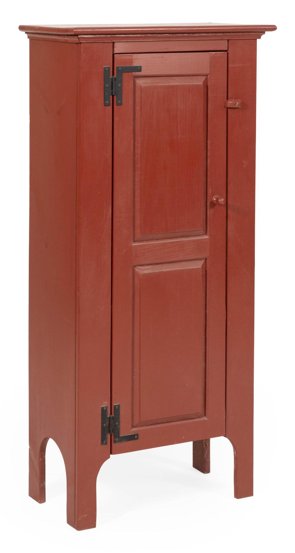 "CHIMNEY CUPBOARD Under deep red paint. Paneled door encloses four interior shelves. Height 51.25"". Width 23.25"". Depth 12.5""."