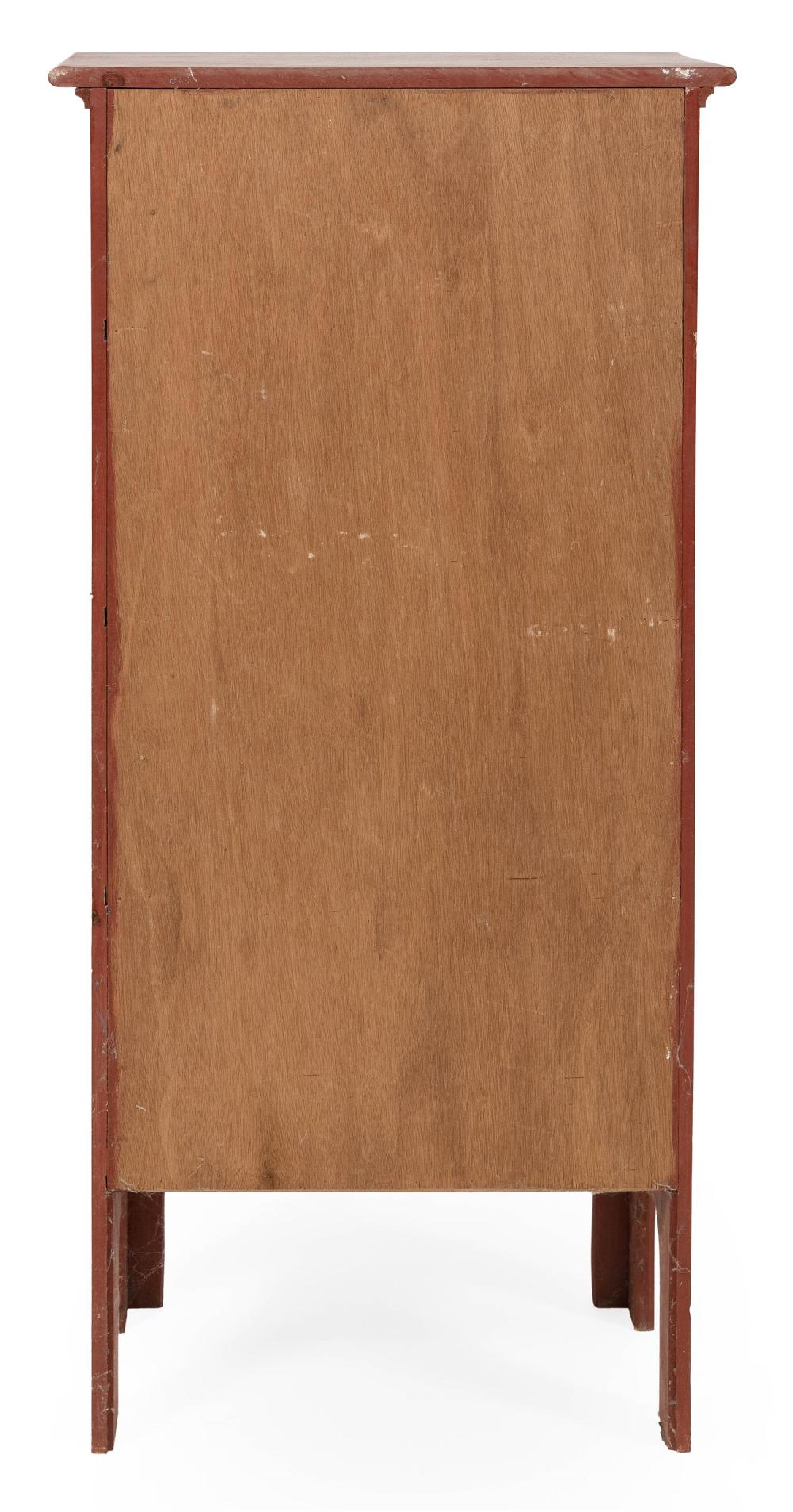 CHIMNEY CUPBOARD Under deep red paint. Paneled door encloses four interior shelves. Height 51.25