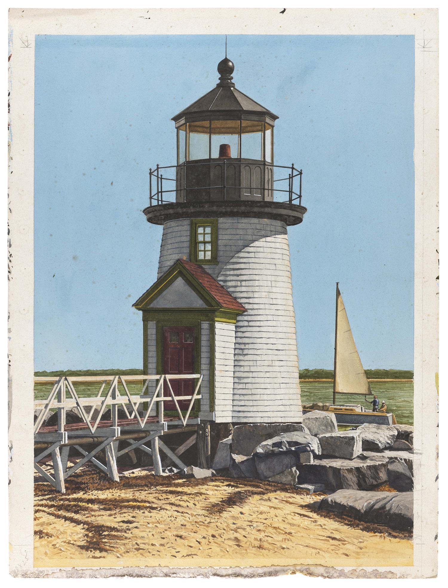 """MARSHALL DUBOCK, America, b. 1943, Brant Point Lighthouse, Nantucket, Massachusetts., Gouache on paper, 27"""" x 21"""". Unframed."""