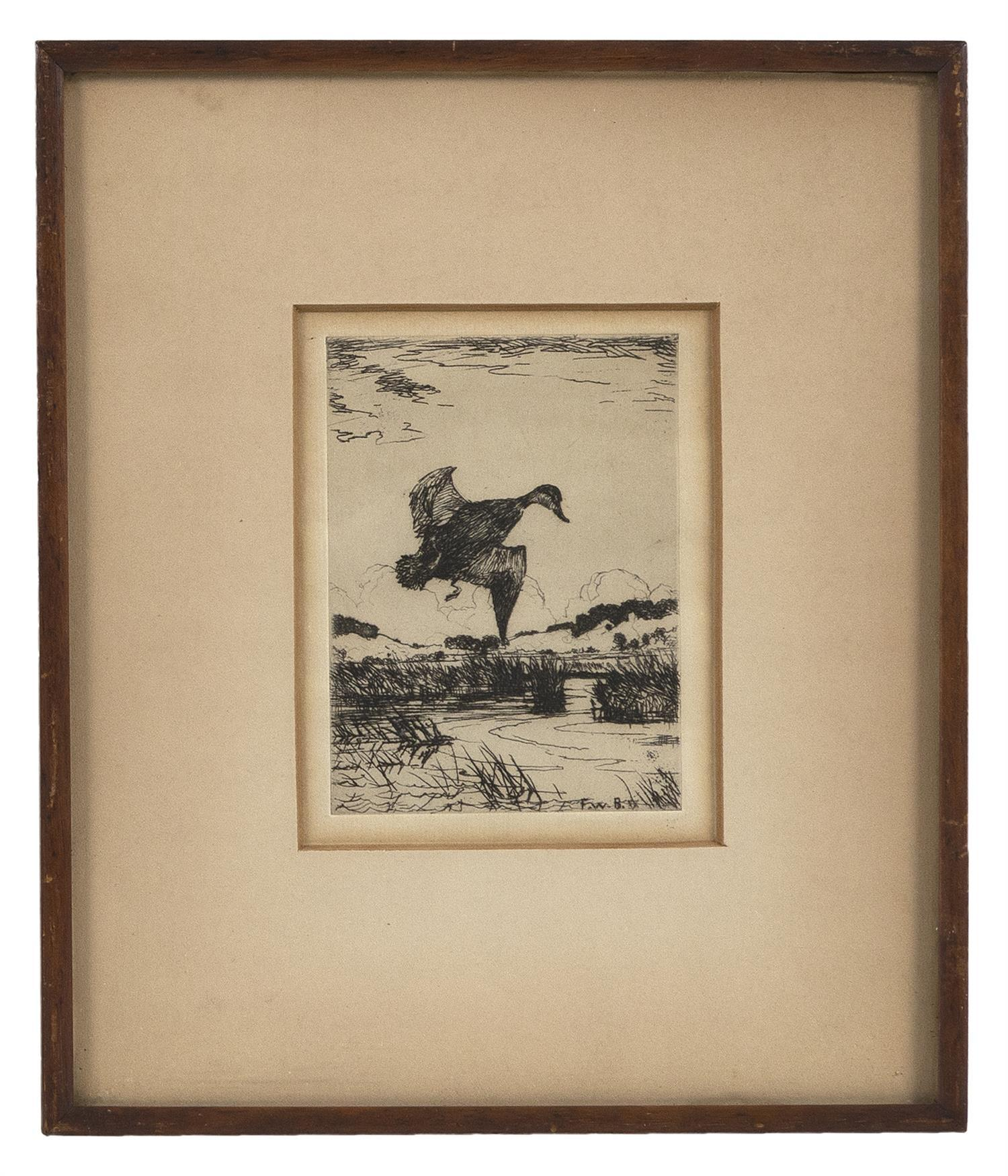"FRANK WESTON BENSON, Massachusetts, 1862-1951, Etching of a lone black duck., 4.25"" x 3.5"" sight. Framed 9"" x 8""."
