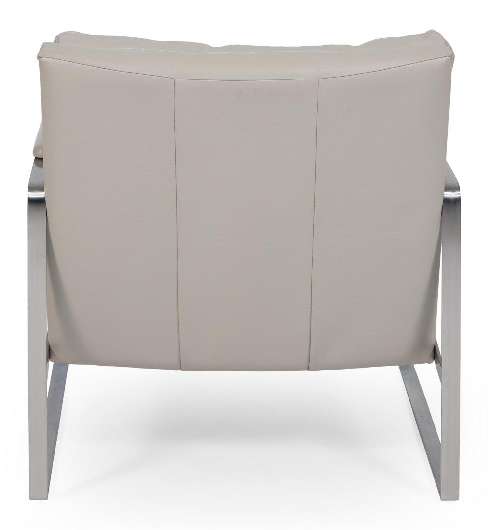 STAINLESS STEEL ARMCHAIR WITH BEIGE LEATHER UPHOLSTERY Unmarked. Back height 31
