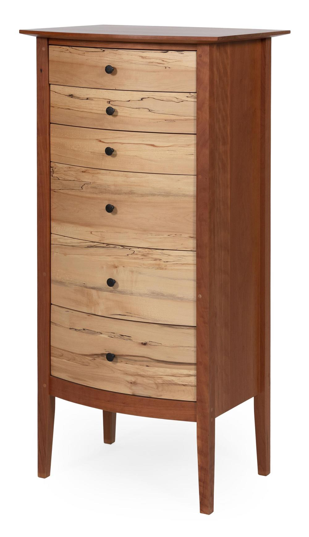 """POMPANOOSUC MILLS SIX-DRAWER BOWFRONT LINGERIE CHEST In cherry and hickory. Factory marks. Height 47"""". Width 23"""". Depth 18.5""""."""