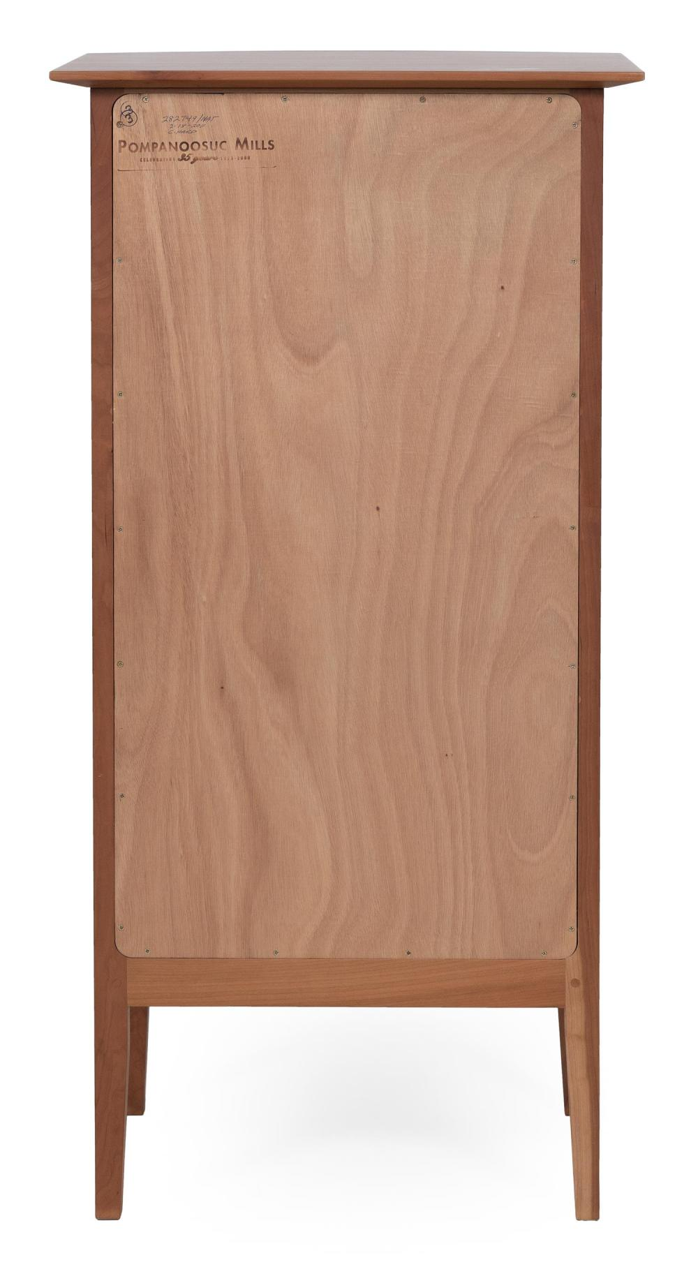 POMPANOOSUC MILLS SIX-DRAWER BOWFRONT LINGERIE CHEST In cherry and hickory. Factory marks. Height 47