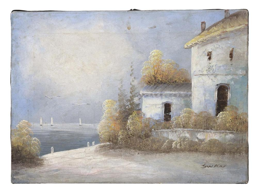 """CONTINENTAL SCHOOL, Early 20th Century, Waterfront villa., Oil on canvas, 12"""" x 16"""". Unframed."""