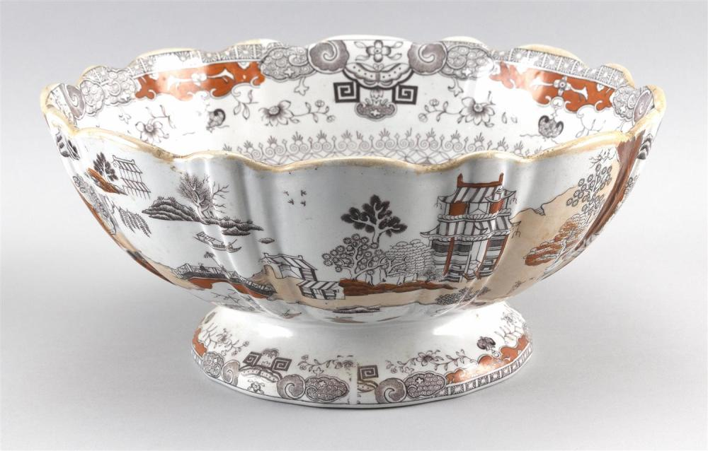 """MASON'S IRONSTONE PORCELAIN PUNCH BOWL Sepia and iron red Chinese landscape pattern. Shaped gilt rim. Height 6"""". Diameter 12""""."""