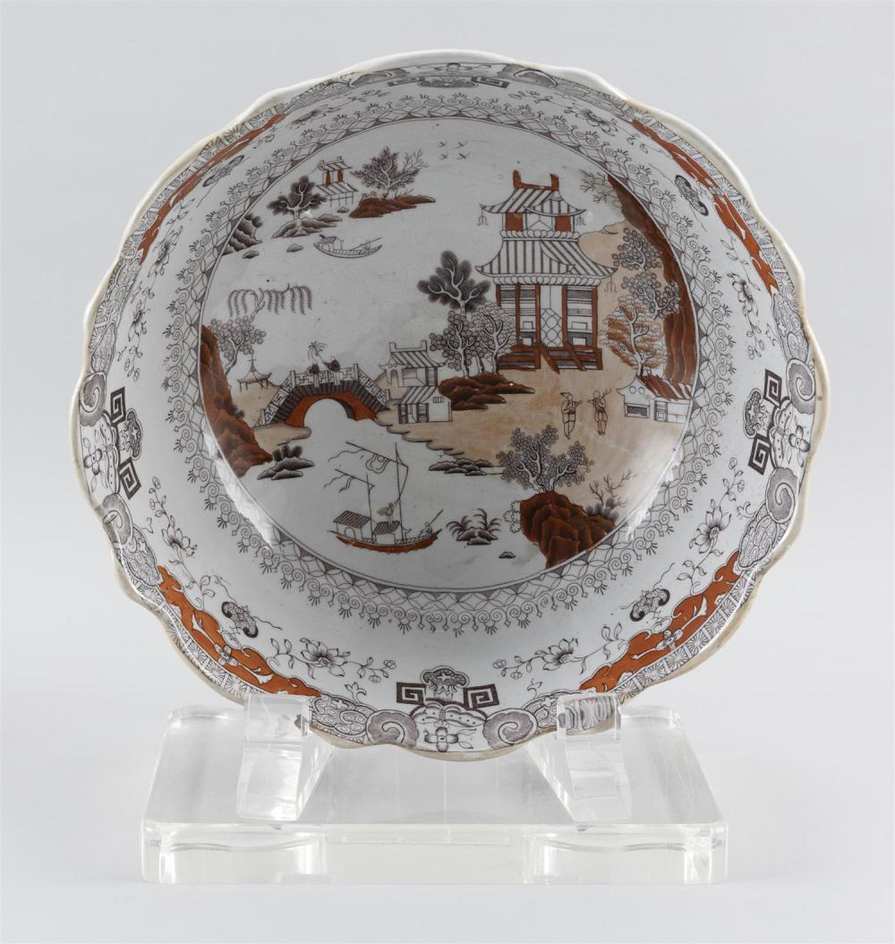 MASON'S IRONSTONE PORCELAIN PUNCH BOWL Sepia and iron red Chinese landscape pattern. Shaped gilt rim. Height 6