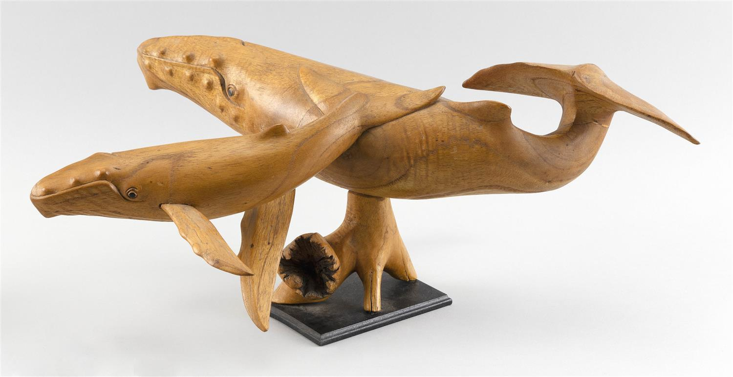"CARVED WOODEN WHALE AND CALF Unmarked. Length 18""."