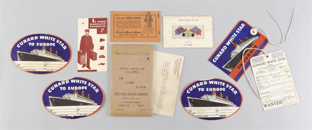 NINE PIECES OF MARITIME-THEMED EPHEMERA Five luggage tags from the Cunard White Star Line, a luggage-related pamphlet, a small silkw...