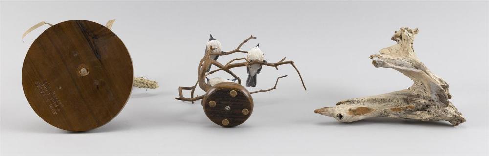THREE DECORATIVE BIRD CARVINGS A John Mello titmouse with grasshopper, height 9