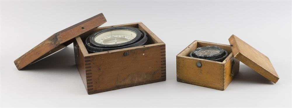 TWO CASED WOODEN BOAT COMPASSES Heights 3