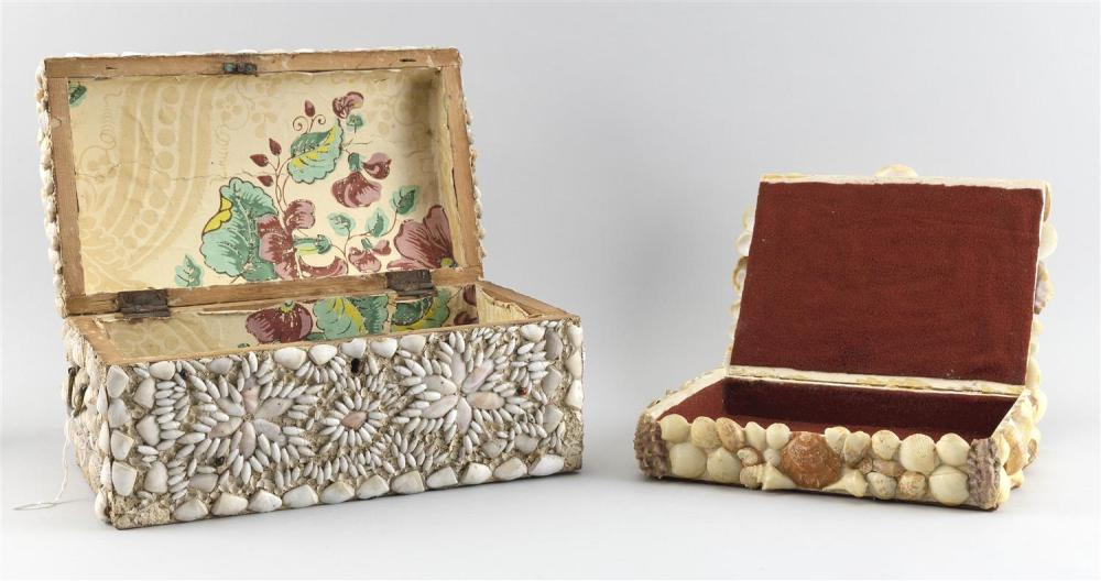 TWO SHELLWORK-DECORATED LIFT-TOP BOXES Heights 2