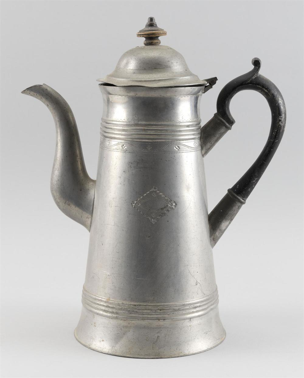 """PEWTER LIGHTHOUSE COFFEEPOT BY ISRAEL TRASK Applied wooden handle. Some engraving on body. Straight line touchmark. Height 12""""."""