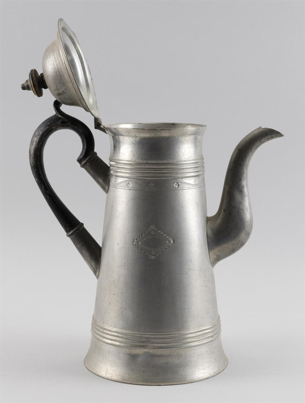 PEWTER LIGHTHOUSE COFFEEPOT BY ISRAEL TRASK Applied wooden handle. Some engraving on body. Straight line touchmark. Height 12